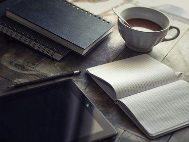 Morning coffee with ipad.