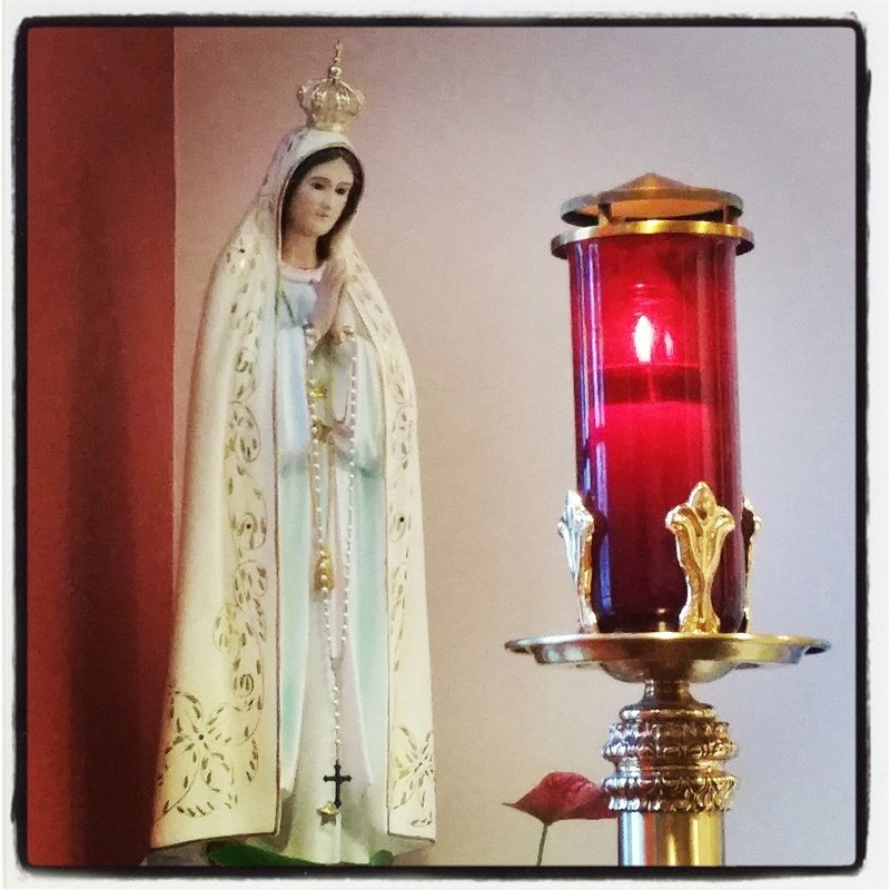 Mary with sanctuary light