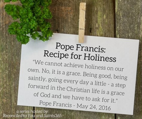Recipe card with Pope quote